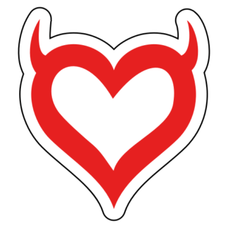 Heart With Horns Sticker (Red)